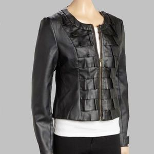 Black Faux Leather Pleated Square Jacket